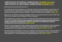 Architect's Certification Under The Pam Contract  Preparedar throughout Practical Completion Certificate Template Jct