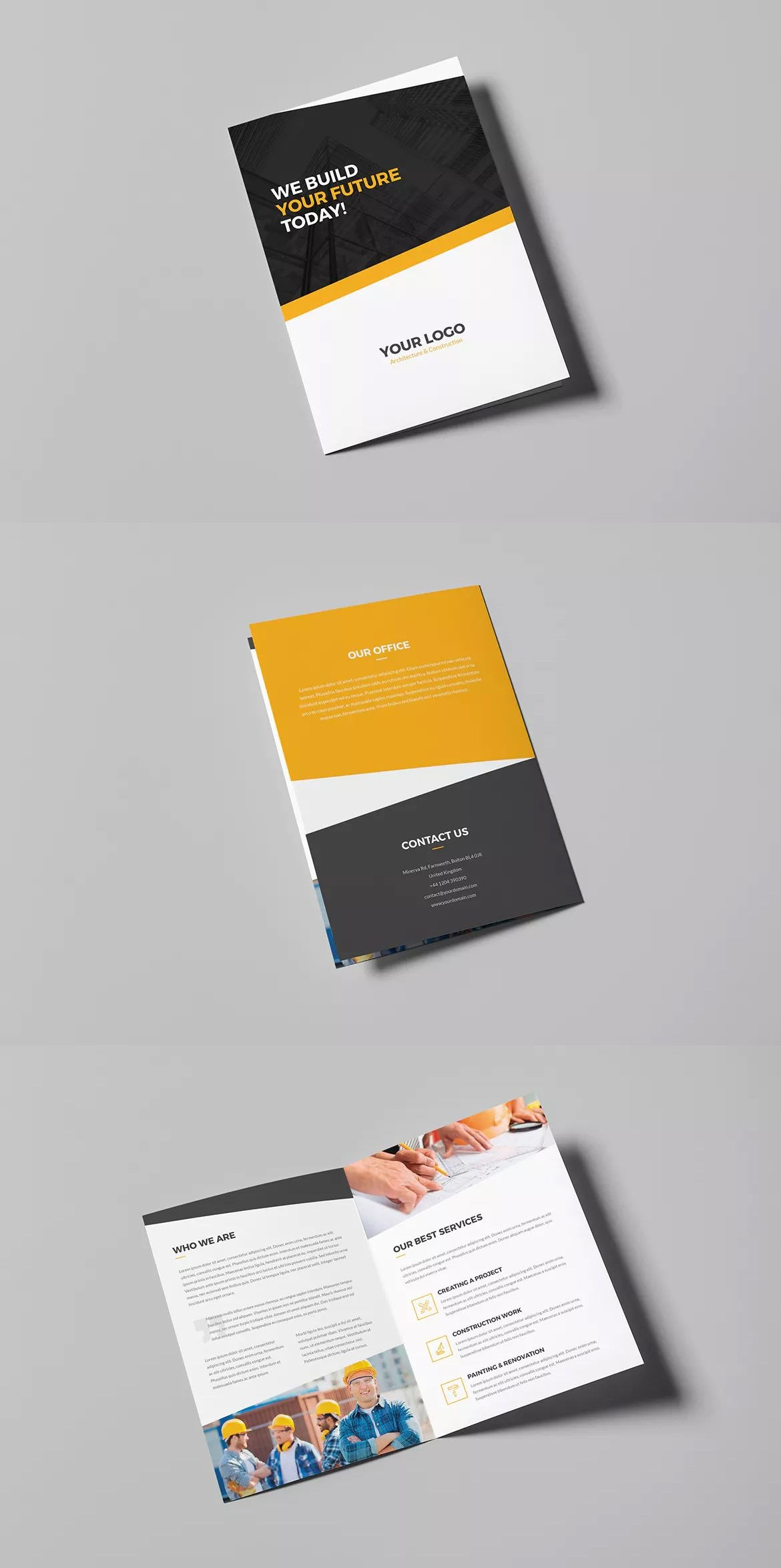 Architecture And Construction Bifold Brochure Template Psd  A And Regarding Two Fold Brochure Template Psd