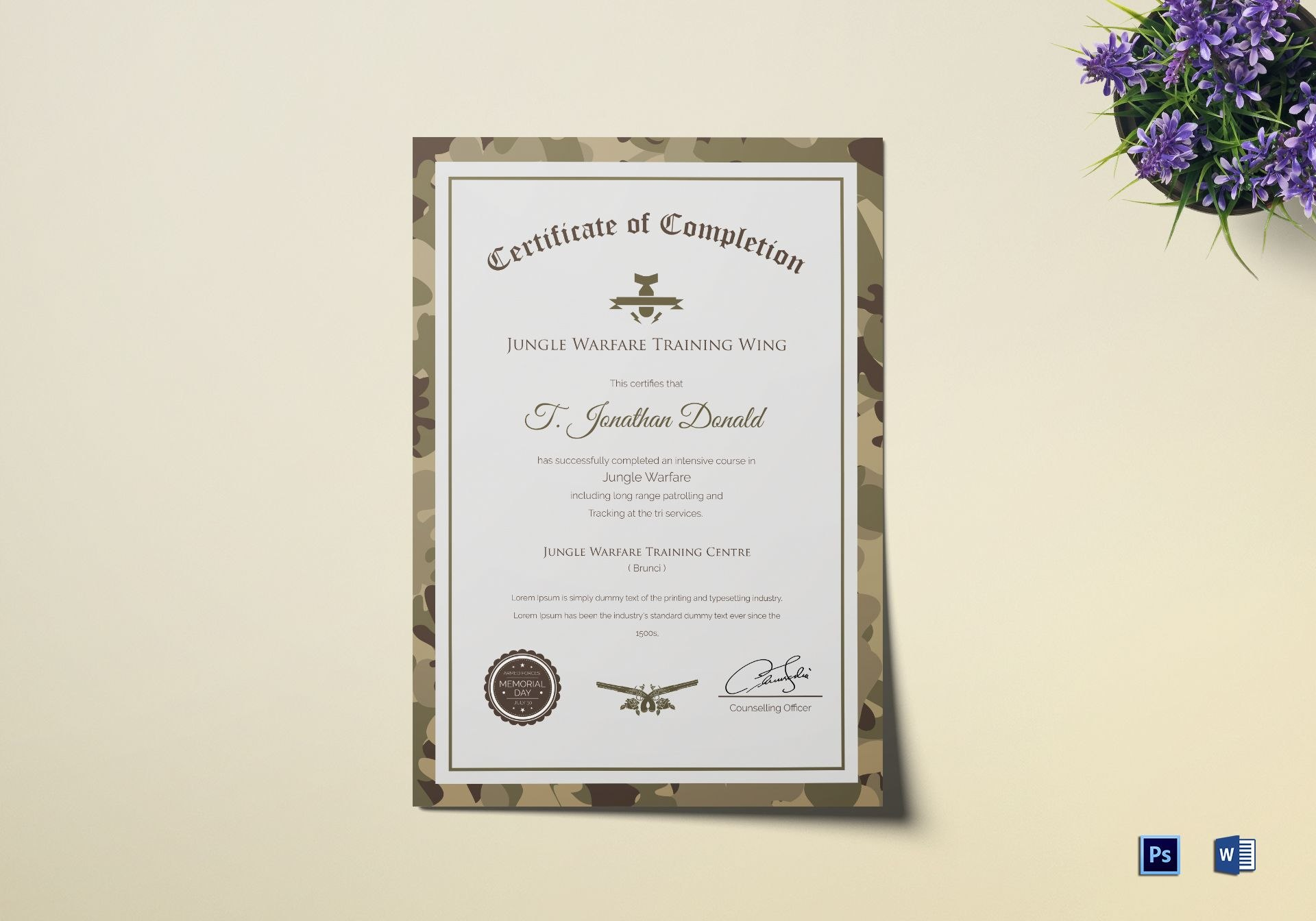 Army Camo Training Completion Certificate Design Template In Psd Word With Army Certificate Of Completion Template