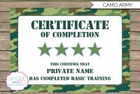 Army Party Printables Invitations  Decorations – Camo  Birthday Inside Boot Camp Certificate Template