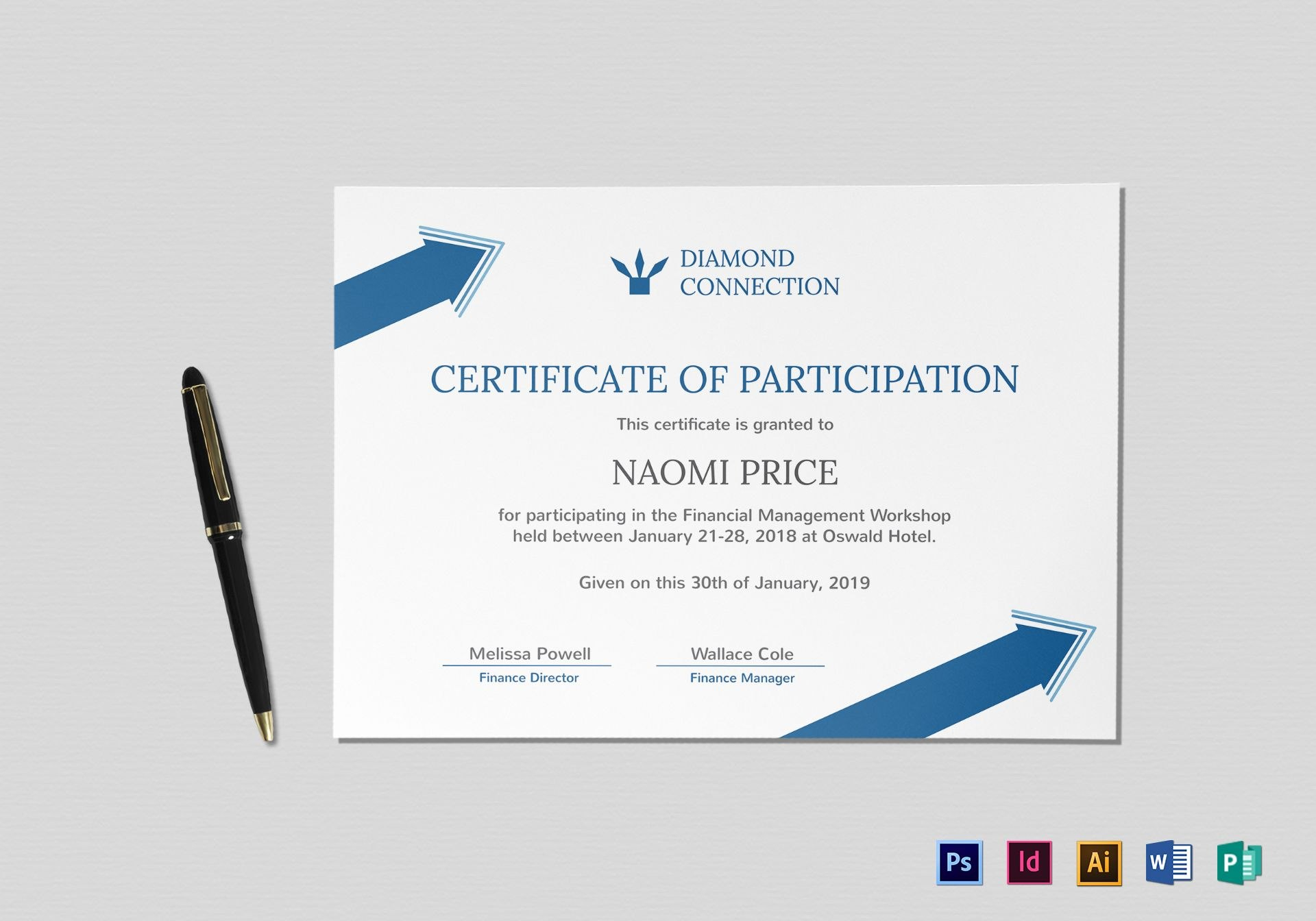 Arrow Style Participation Certificate Design Template In Psd Word Throughout Certificate Of Participation In Workshop Template