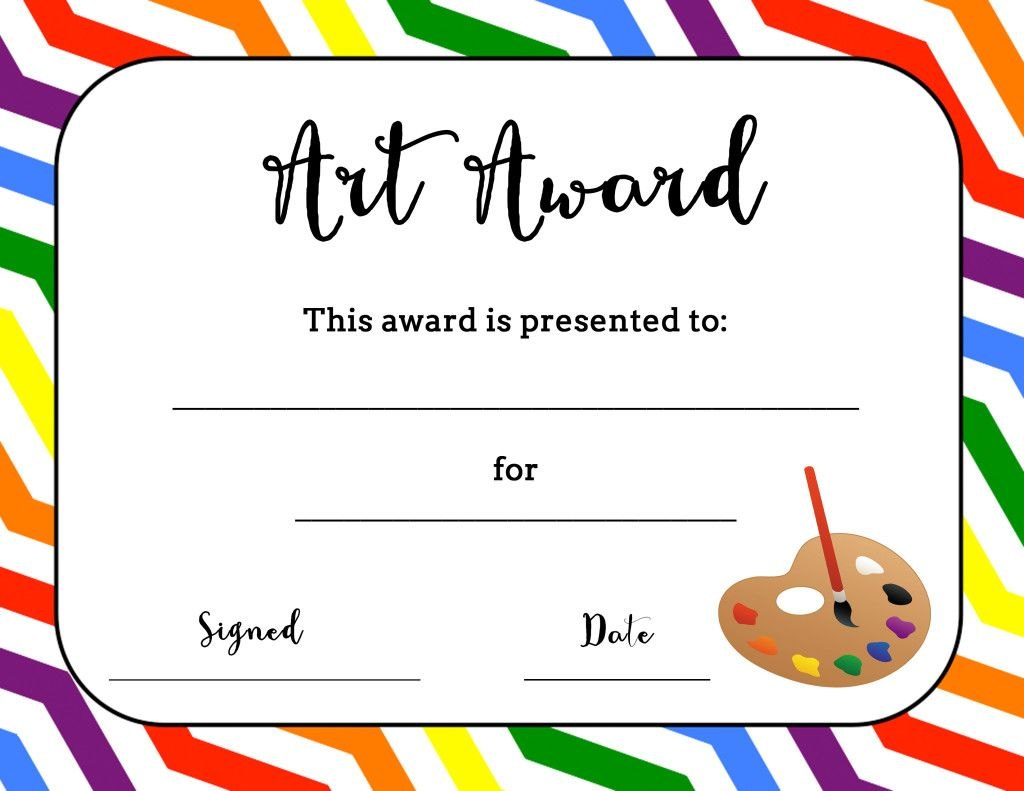 Art Award Certificate Free Printable  Art  Elementary Art Free Intended For Art Certificate Template Free