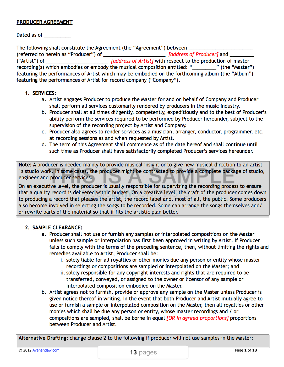 Artist  Band Contract Template Pack  Musiclawcontracts With Record Label Artist Contract Template