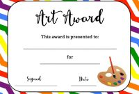 Arttemlatesstudent Certificate Awards Printable pertaining to Free Art Certificate Templates