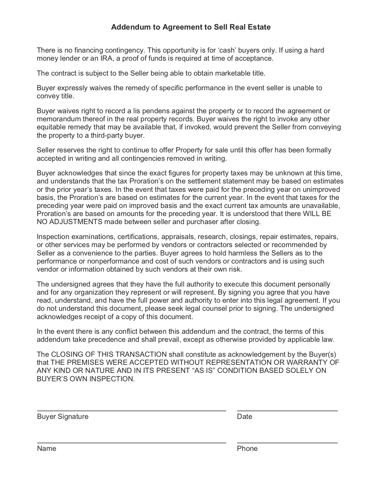 Assignment Contract  Investorfuse Real Estate Investor Follow Up For Vendor Take Back Agreement Template