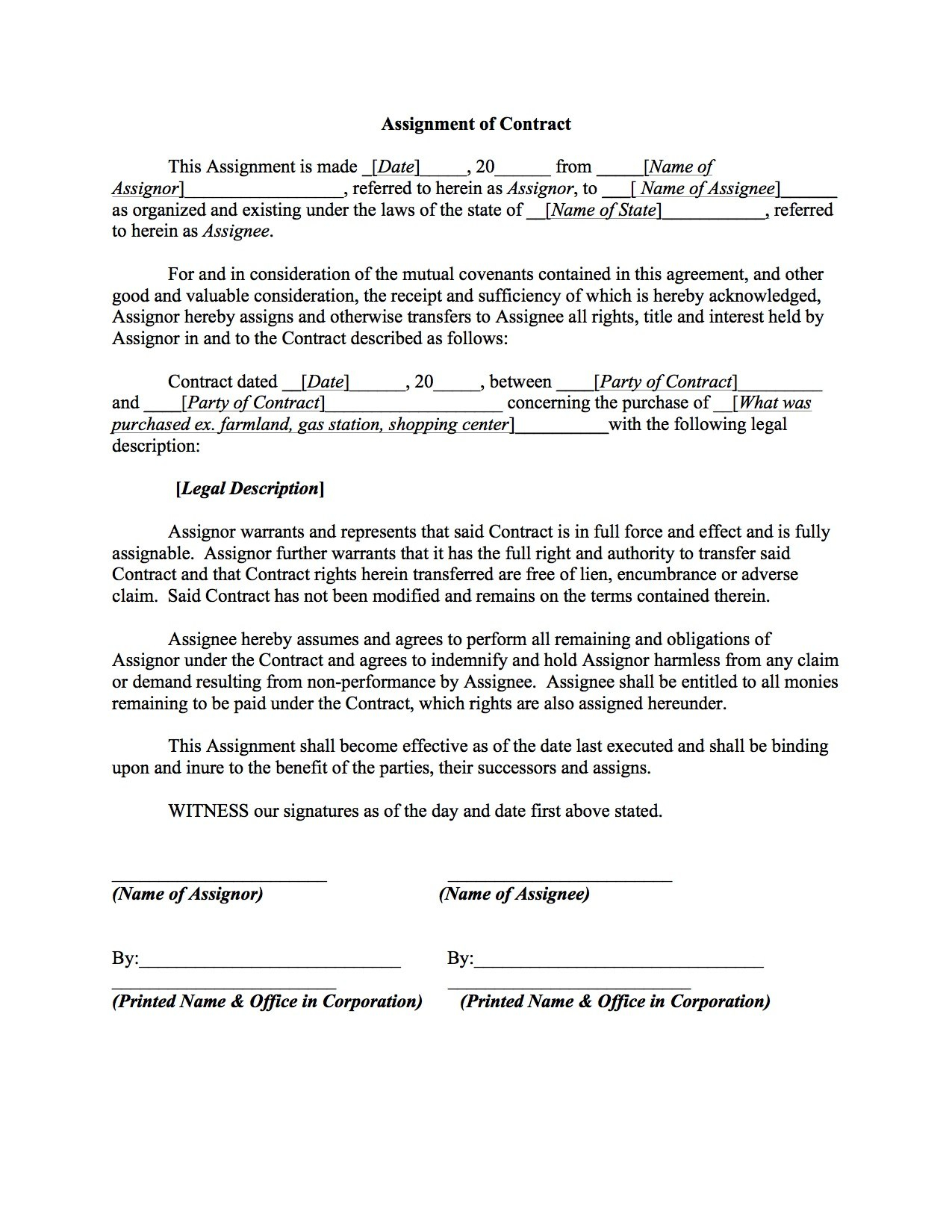 Assignment Of Contract Template – Boardwalk Legal Aids Intended For Claim Assignment Agreement Template