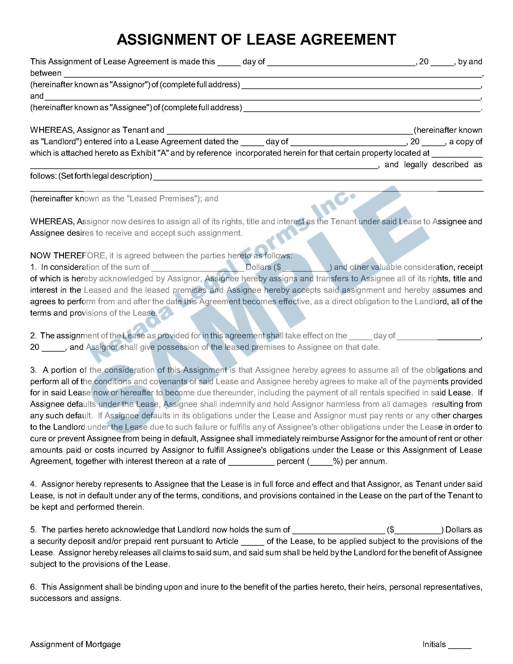 Assignment Of Lease Agreement  Nevada Legal Forms  Services Intended For Claim Assignment Agreement Template