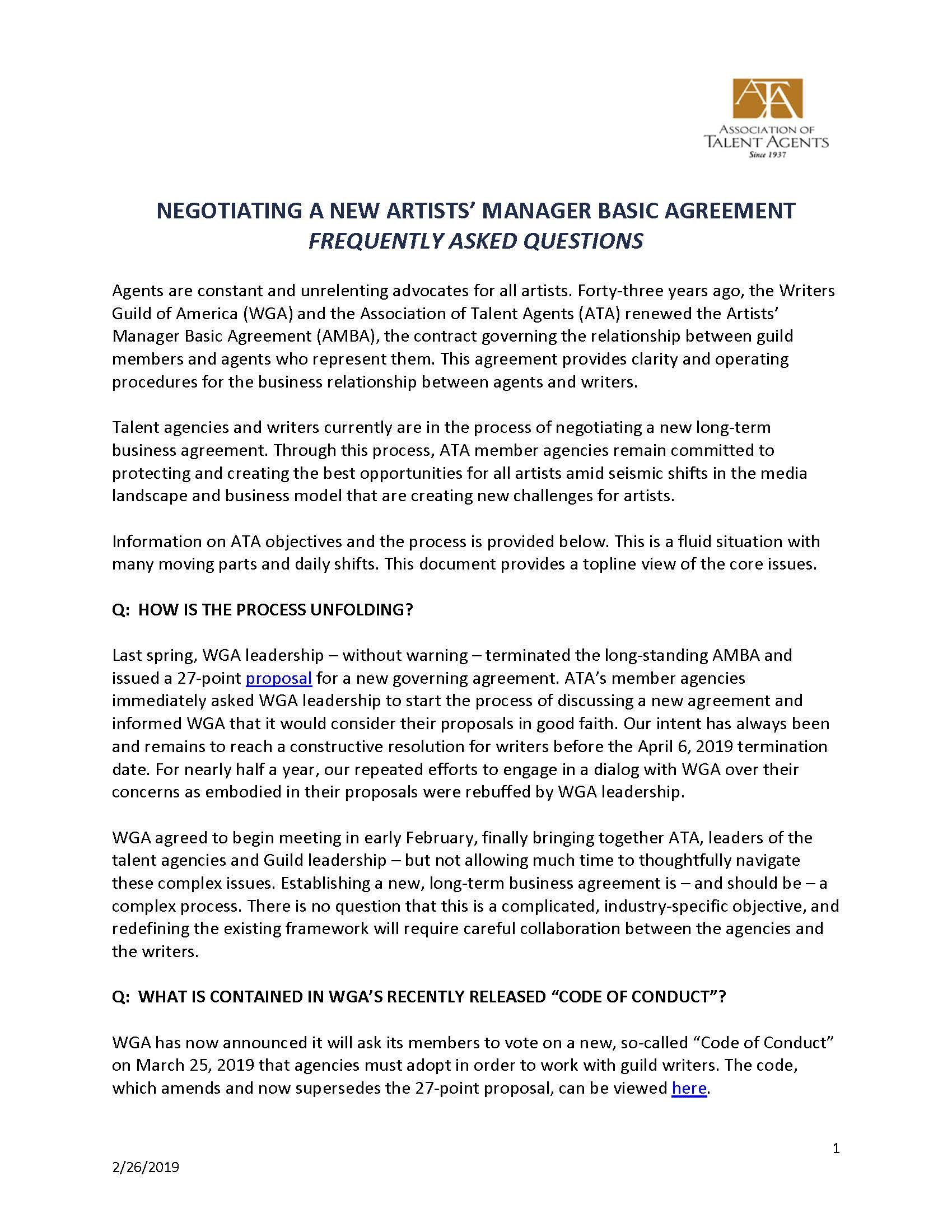 Association Of Talent Agents   Artists' Manager Basic Agreement With Talent Agency Agreement Template