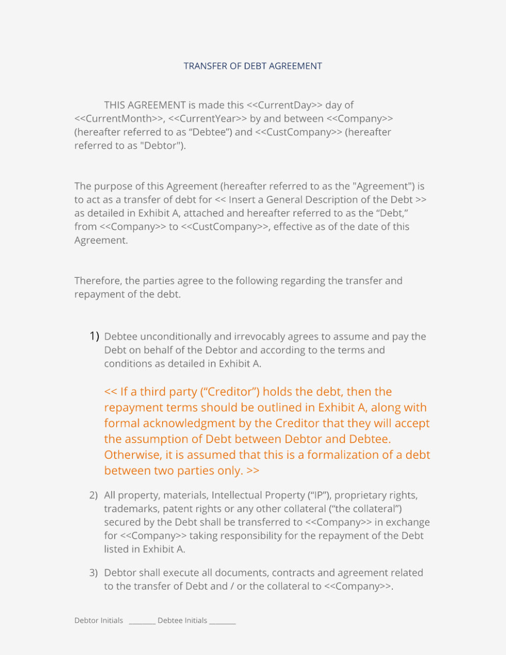 Assumption Of Debt Agreement Sample Luxury Assignment Of Contract Within Debt Assignment Agreement Template