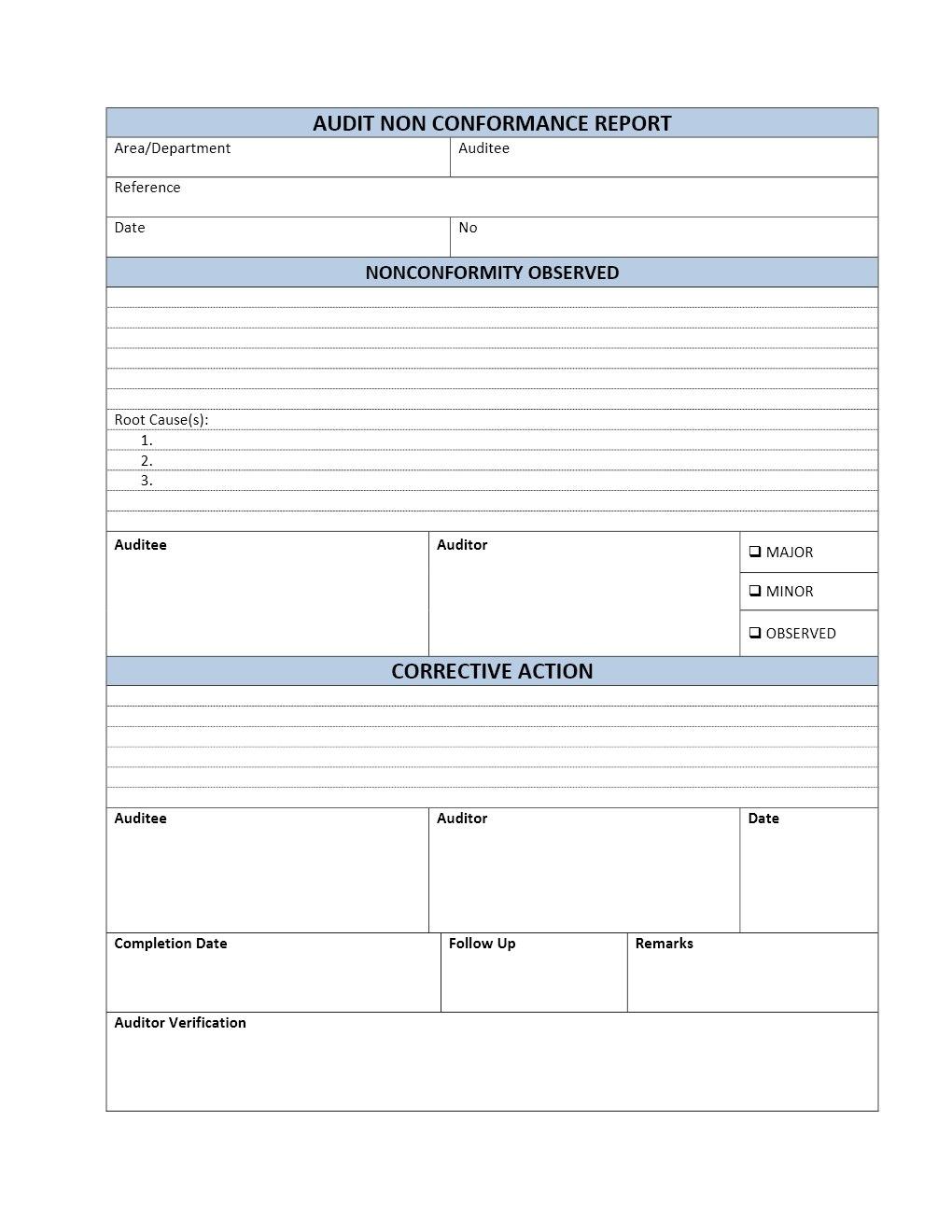 Audit Non Conformance Report Regarding Non Conformance Report Form Template