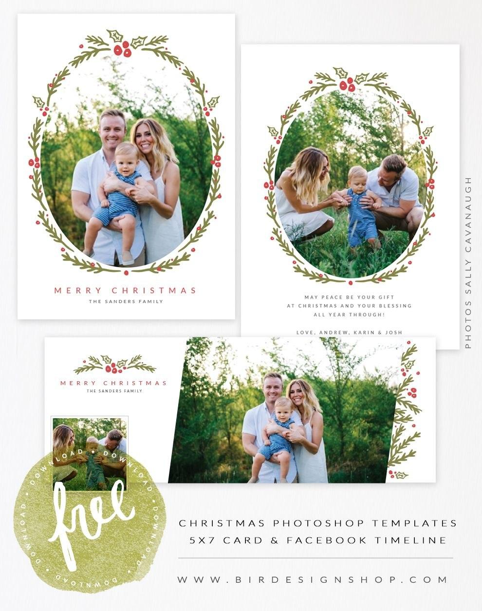 August Freebie  Christmas Card  Fb Timeline Templates  Free In Free Photoshop Christmas Card Templates For Photographers