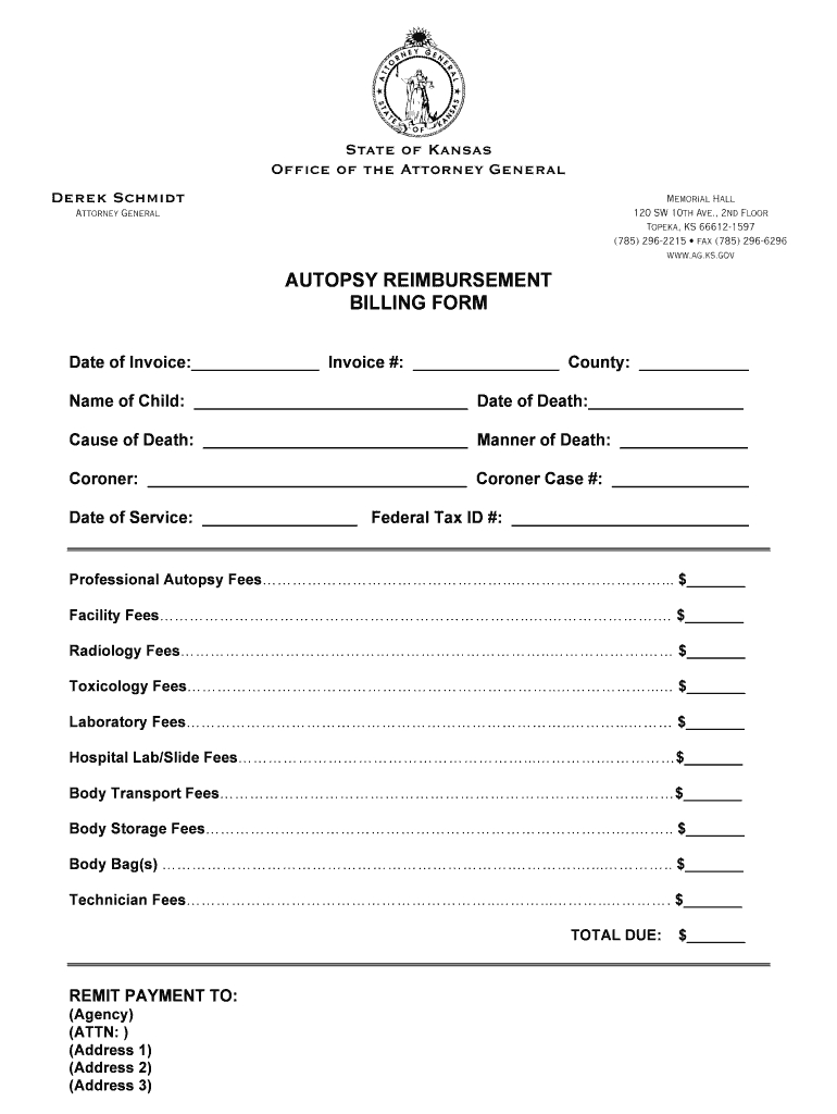 Autopsy Reim Billing Form  Agksgov Fill Online Printable Fillable Inside Blank Autopsy Report Template