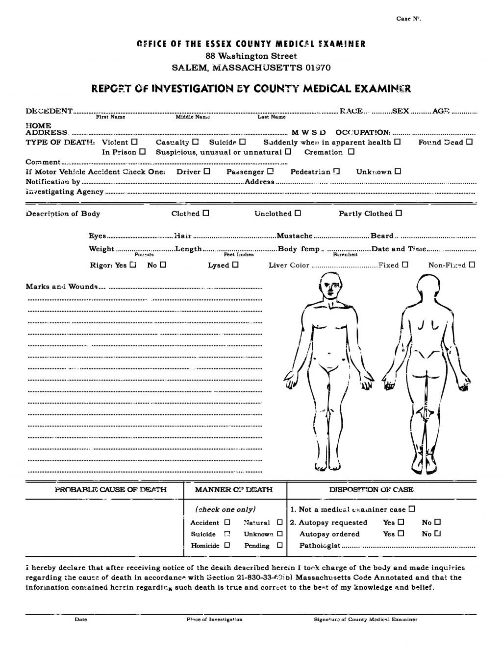 Autopsy Report Template Coroners Format Sample Nes Download Example Within Coroner's Report Template