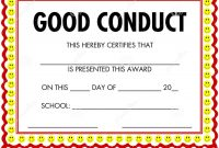 Award Certificate Good Conduct Stock Vector  Illustration Of with regard to Good Conduct Certificate Template