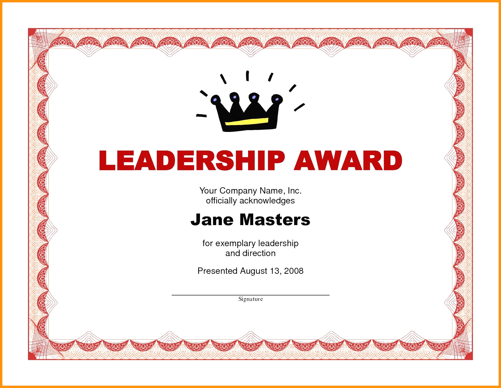 Award Certificate Template Word Free   Discover China Townsf With Leadership Award Certificate Template