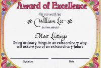 Award Certificates  Award Of Excellence Certificate Award Reads with Award Of Excellence Certificate Template