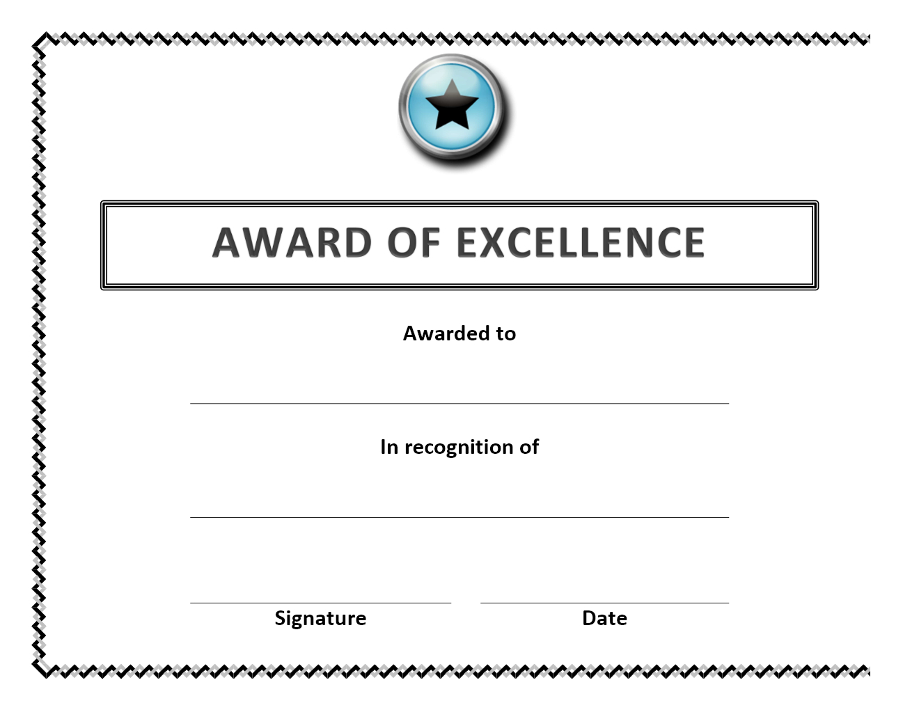 Award Of Excellence Certificate Within Award Of Excellence Certificate Template