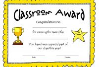 Awesome Collection For Classroom Certificates Templates About throughout Classroom Certificates Templates