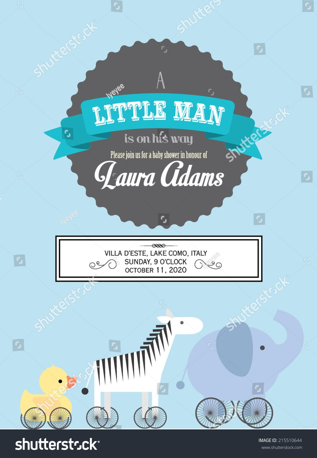 Baby Boy Baby Shower Animal Pushpull Stock Vector Royalty Free Within Push Card Template