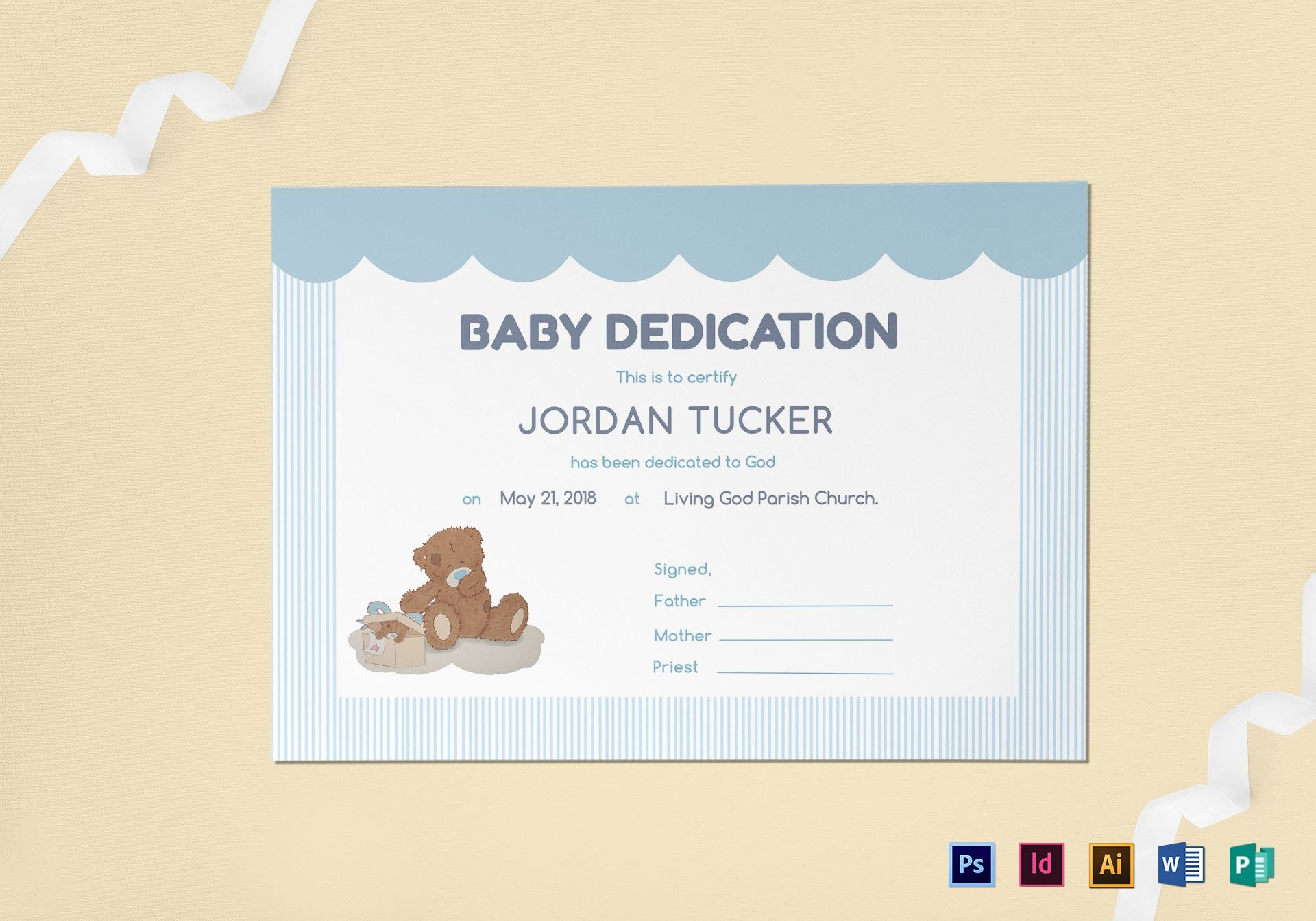 Baby Dedication Certificate Design Template In Psd Word Publisher For Baby Dedication Certificate Template