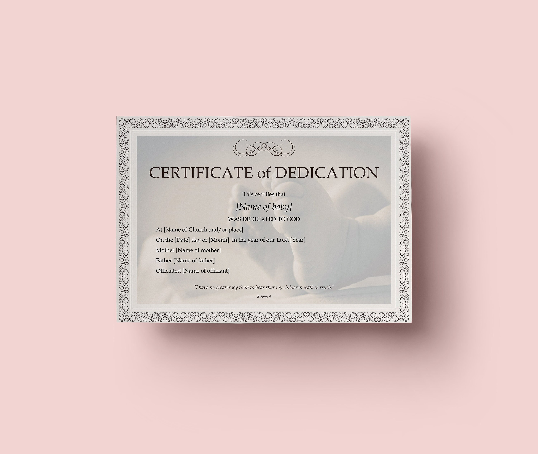 Baby Dedication Certificate Template Boy Or Girl Instant  Etsy In Baby Dedication Certificate Template