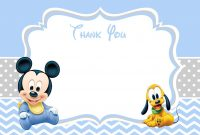 Baby Mickey Mouse Baby Shower Thank You Card  Baby Shower Madness inside Template For Baby Shower Thank You Cards