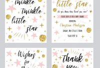 Baby Shower Girl Templates Twinkle Twinkle Little Star Text With intended for Template For Baby Shower Thank You Cards