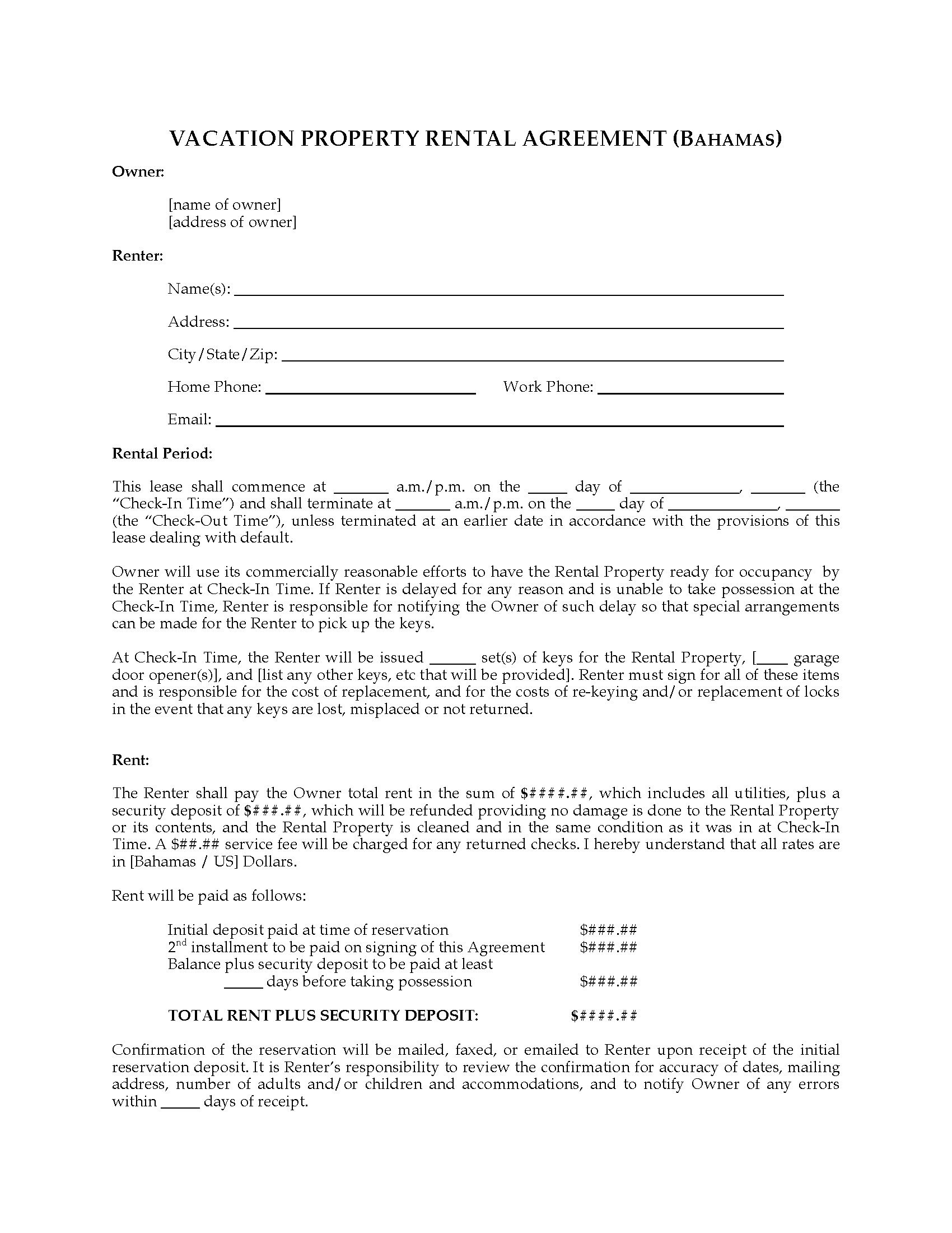Bahamas Vacation Property Rental Agreement  Legal Forms And Throughout Vacation Home Rental Agreement Template
