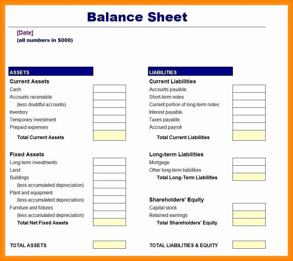Balance Sheet Templates For Small Business Within Small Business Balance Sheet Template