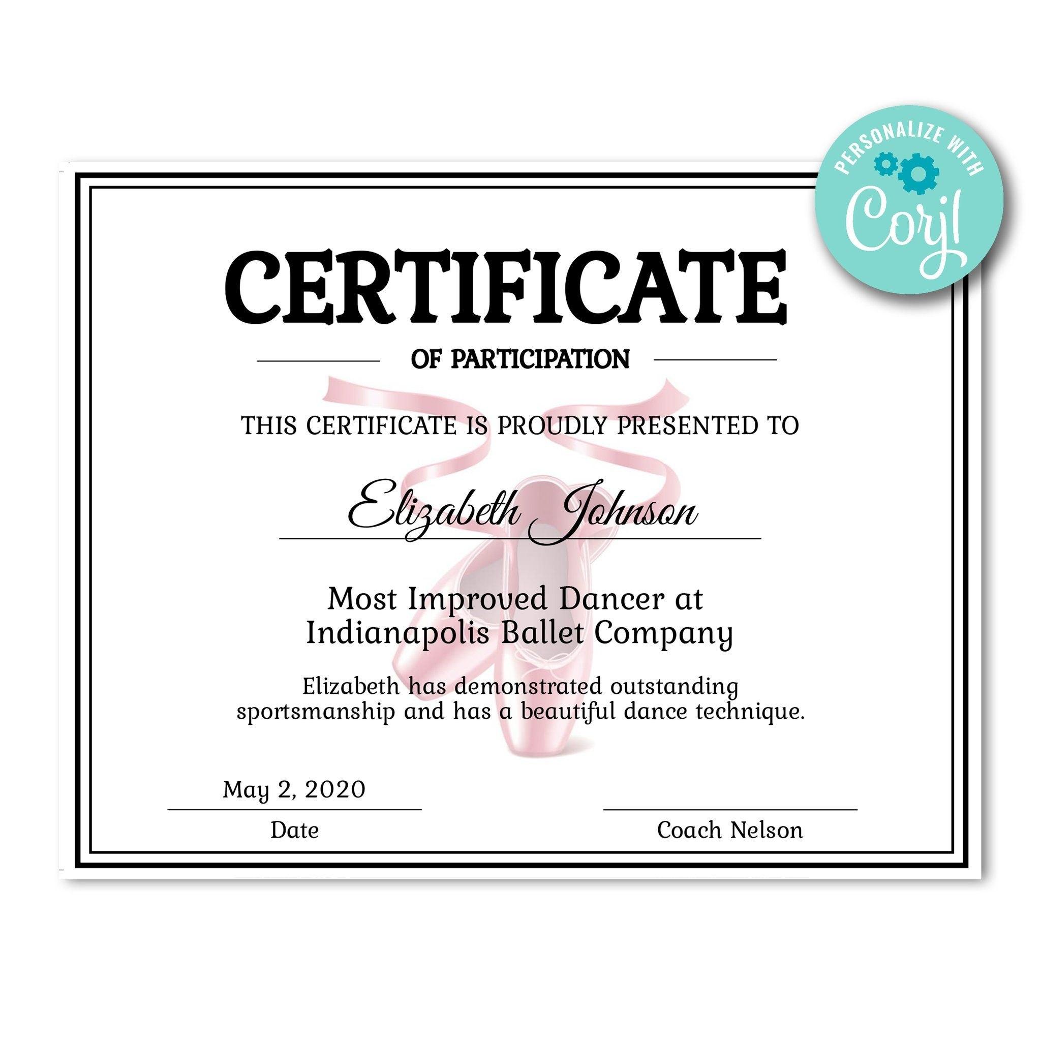 Ballet Certificate  Certificates  Printable Award Certificate Throughout Dance Certificate Template