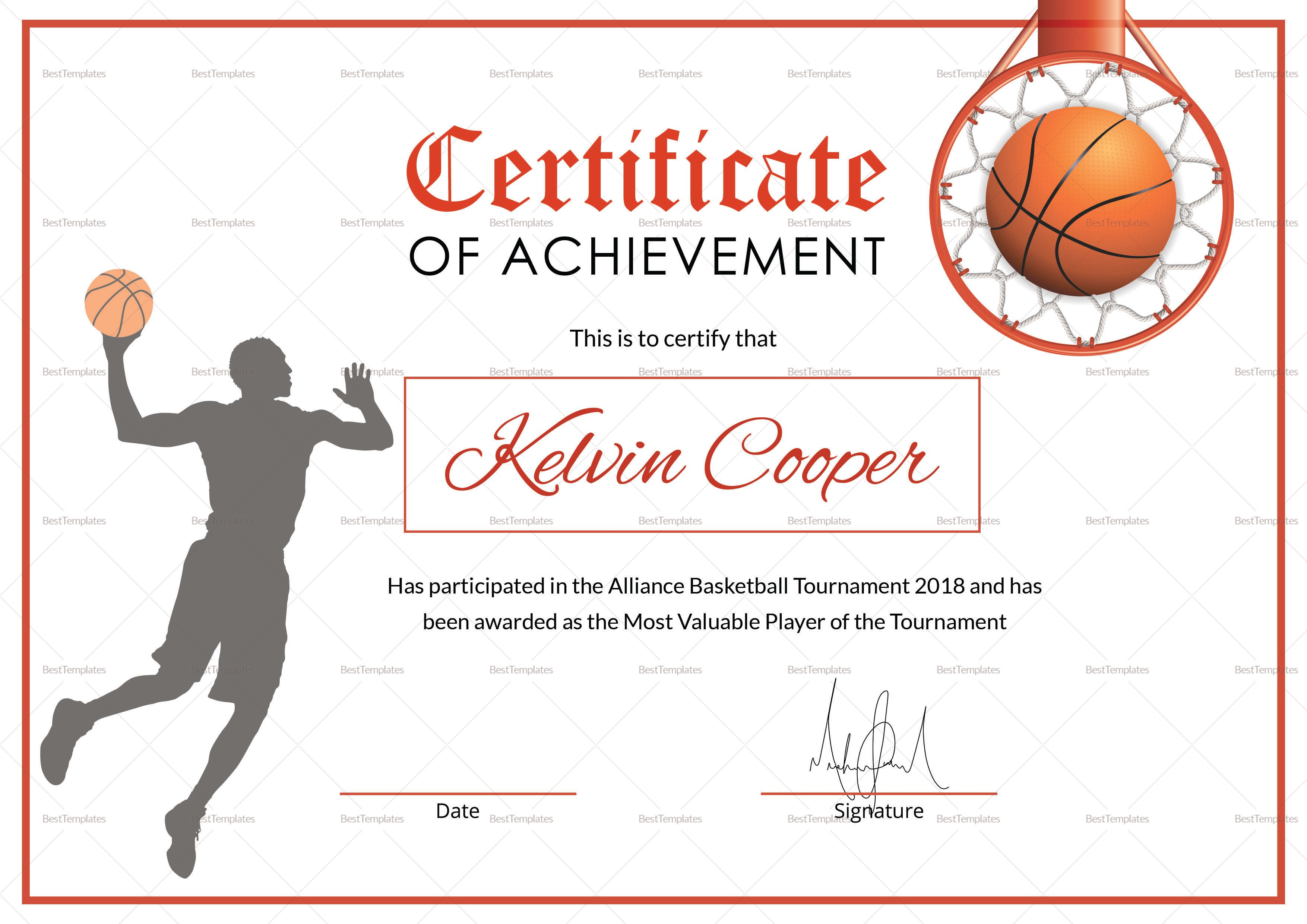 Basketball Award Achievement Certificate Design Template In Word Psd With Regard To Sports Award Certificate Template Word