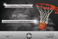 Basketball Participation Certificate Design Template In Word Psd intended for Basketball Certificate Template
