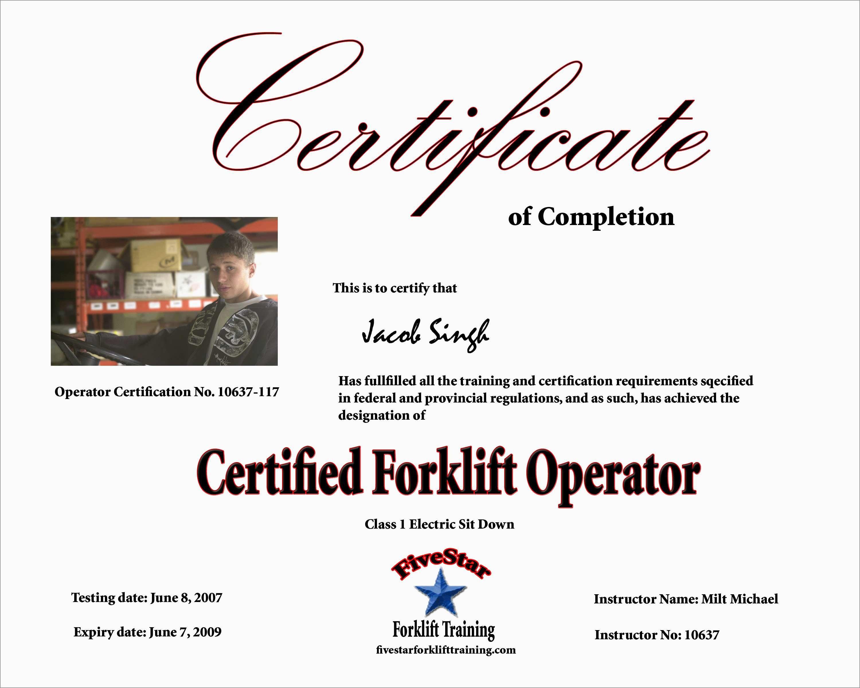 Beautiful Forklift Certification Card Template Free  Best Of Template With Forklift Certification Template