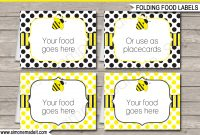 Bee Party Food Labels  Place Cards  Printable  Editable Template with regard to Butterfly Labels Templates