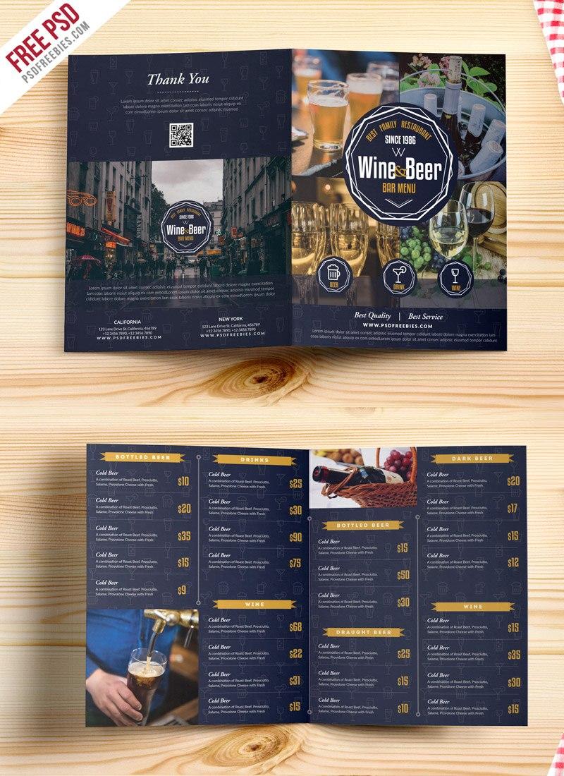 Beer And Wine Menu Bifold Brochure Template Psd  Psdfreebies For Wine Brochure Template