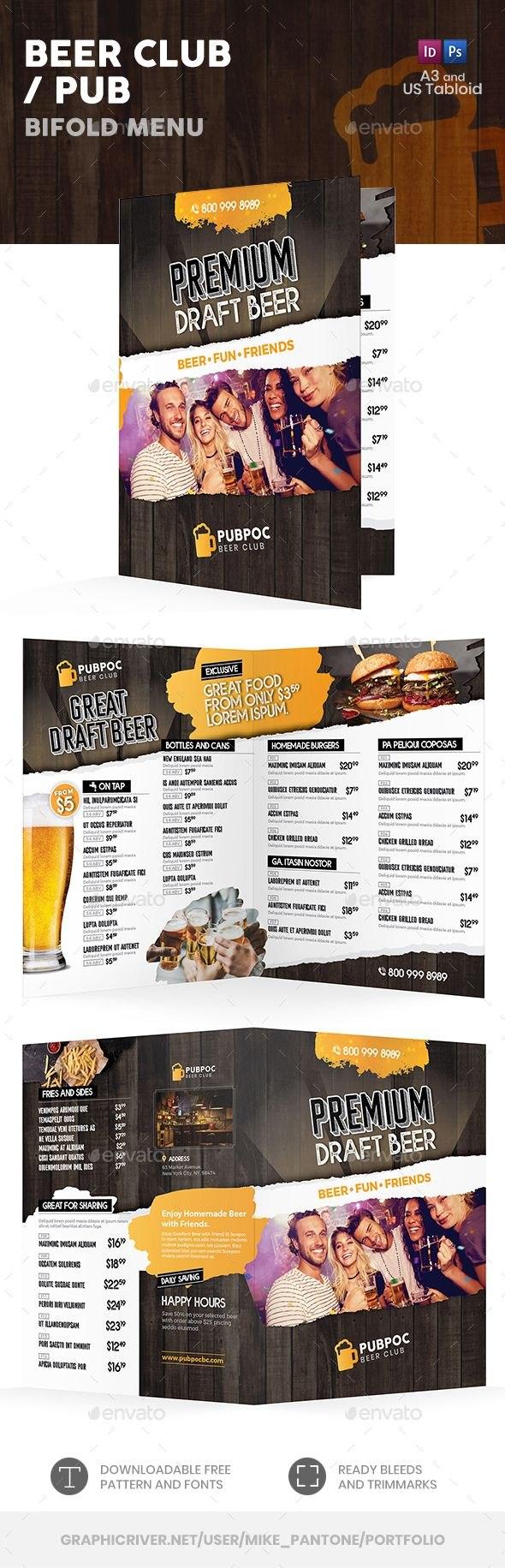 Beer Club Or Pub Bifold  Halffold Menu Template Psd Indesign Inside Half Fold Menu Template