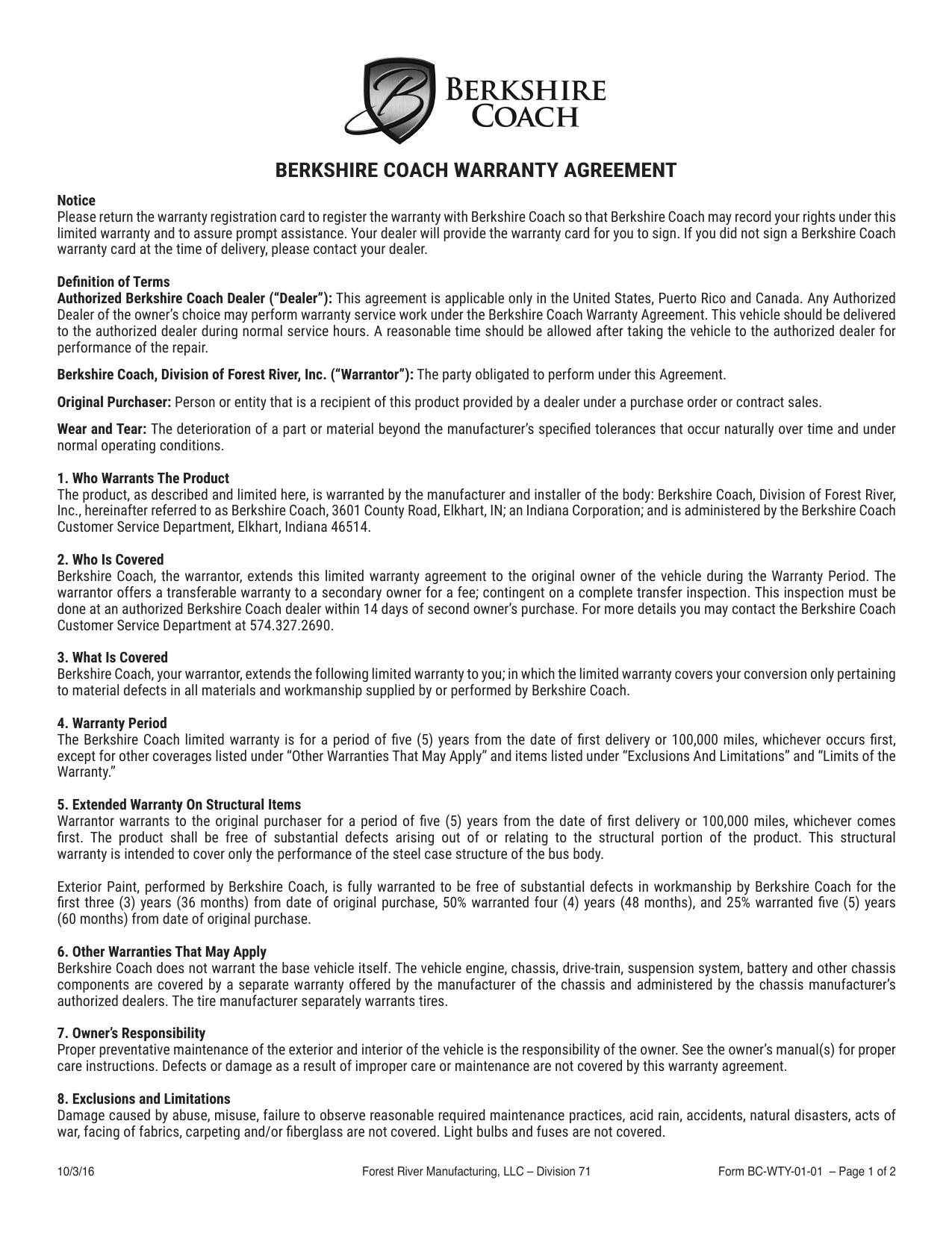 Berkshire Coach Warranty Agreement  Manualzz With Limited Warranty Agreement Template