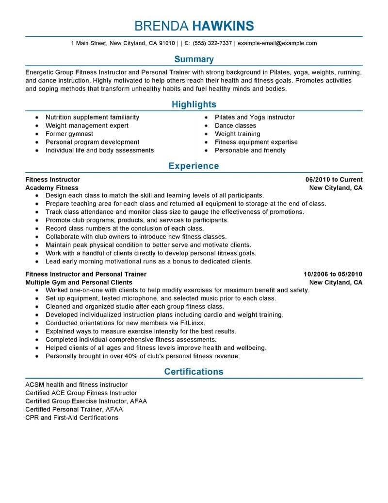 Best Fitness And Personal Trainer Resume Example  Livecareer With Regard To Personal Training Cancellation Policy Template