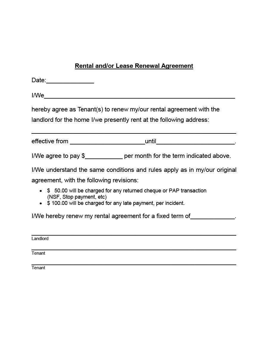 Best Lease Renewal Letters  Forms Word  Pdf ᐅ Template Lab For Renewal Of Tenancy Agreement Template
