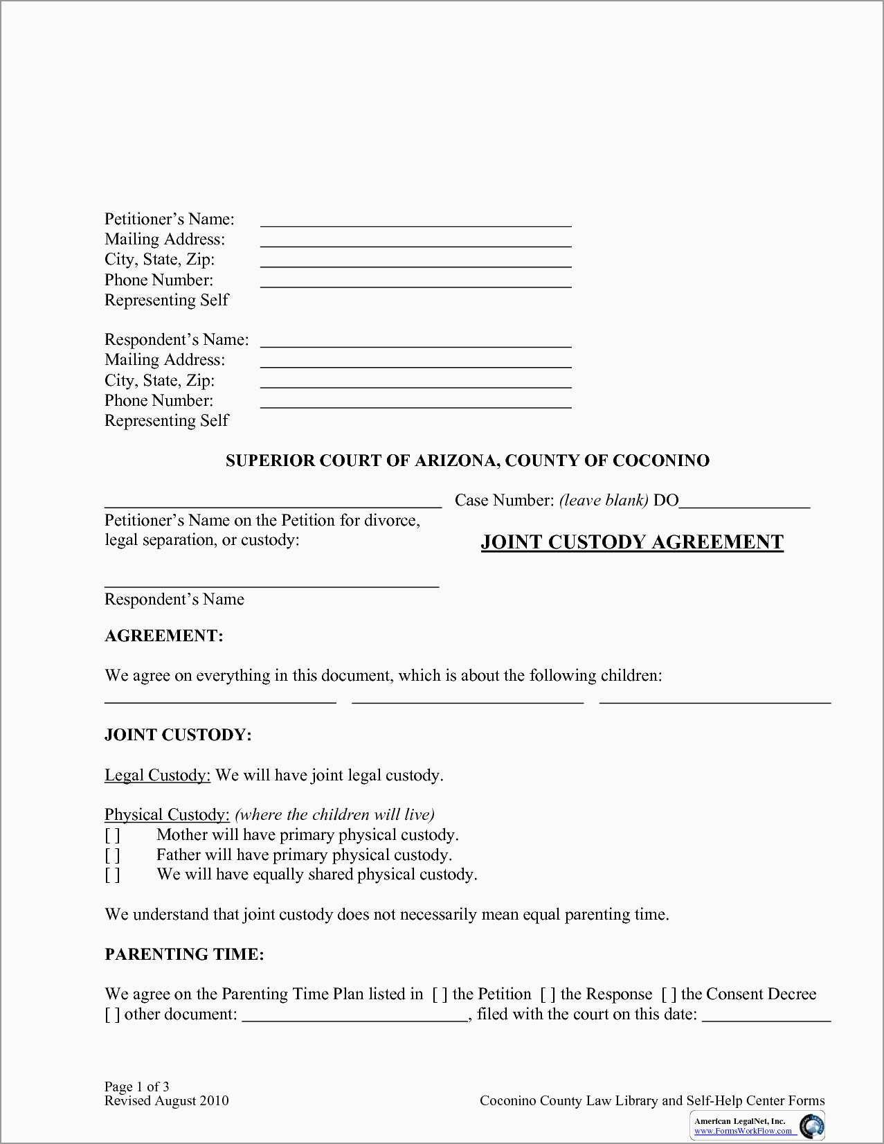 Best Of Free Custody Agreement Template  Best Of Template Throughout Free Joint Custody Agreement Template