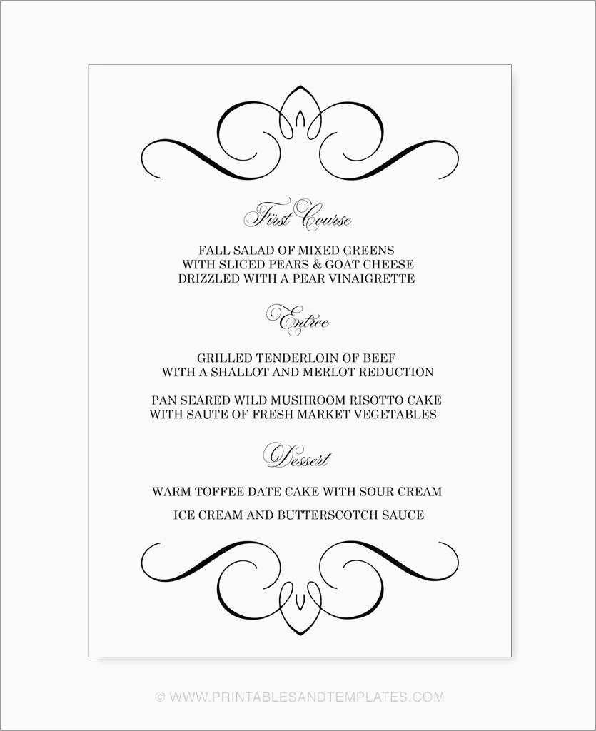 Best Of Free Printable Dinner Party Menu Template  Best Of Template Within Free Printable Menu Template
