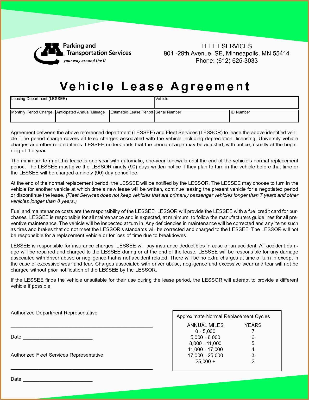 Best Of Free Vehicle Rental Agreement Template  Best Of Template With Free Motor Vehicle Lease Agreement Template