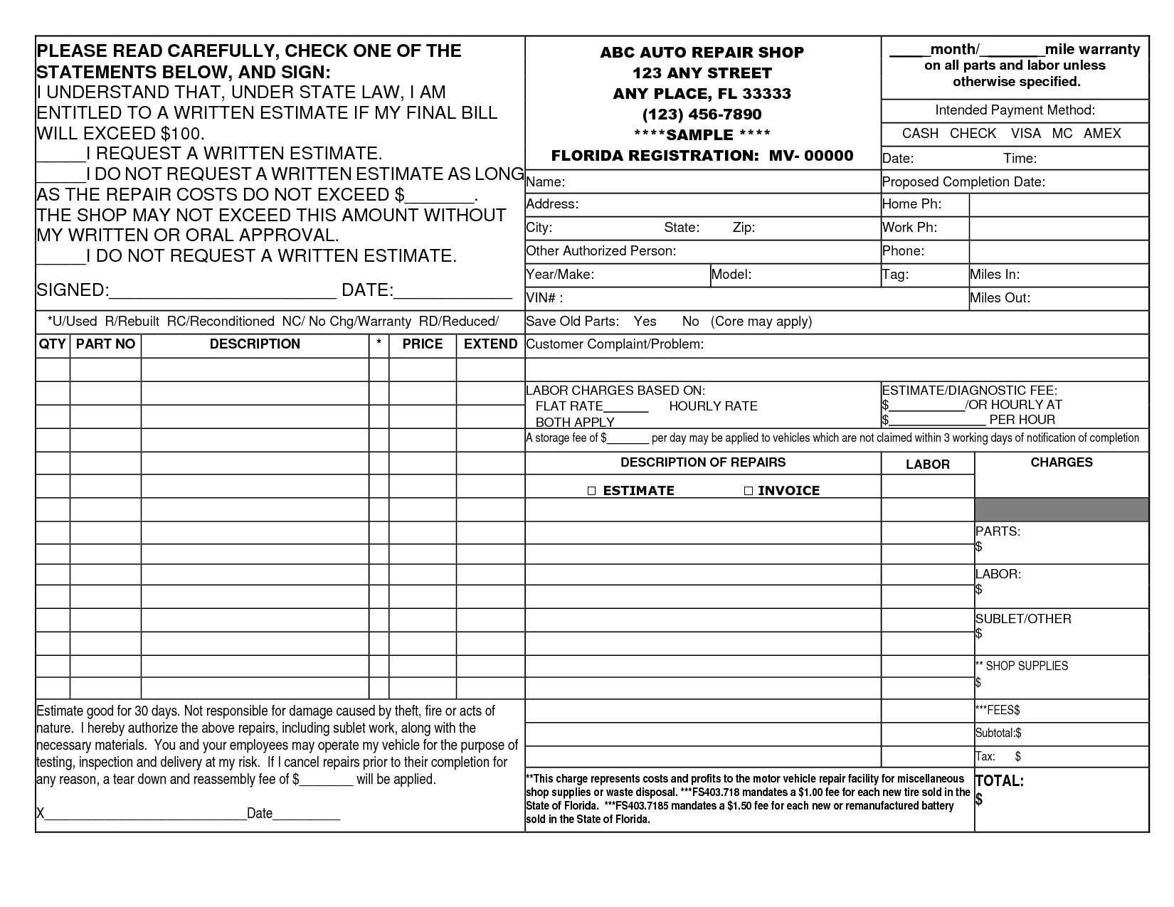 Best Photos Of Auto Repair Invoice Template Printable Auto Body Intended For Free Auto Repair Invoice Template Excel