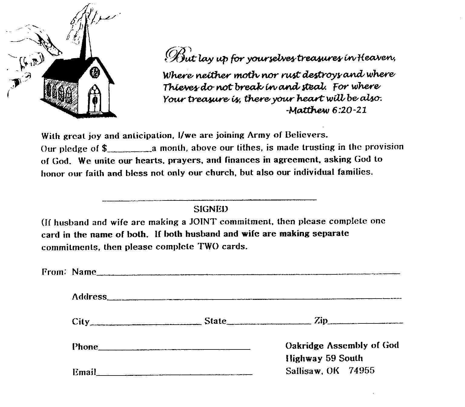 Best Photos Of Church Building Fund Pledge Form Template  Church In Building Fund Pledge Card Template
