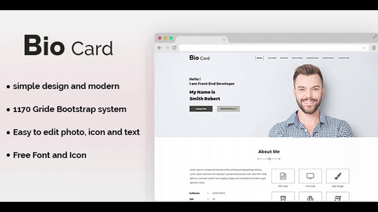 Biocard  Personal Portfolio Psd Template  Themeforest Website Templates  And Themes Throughout Bio Card Template