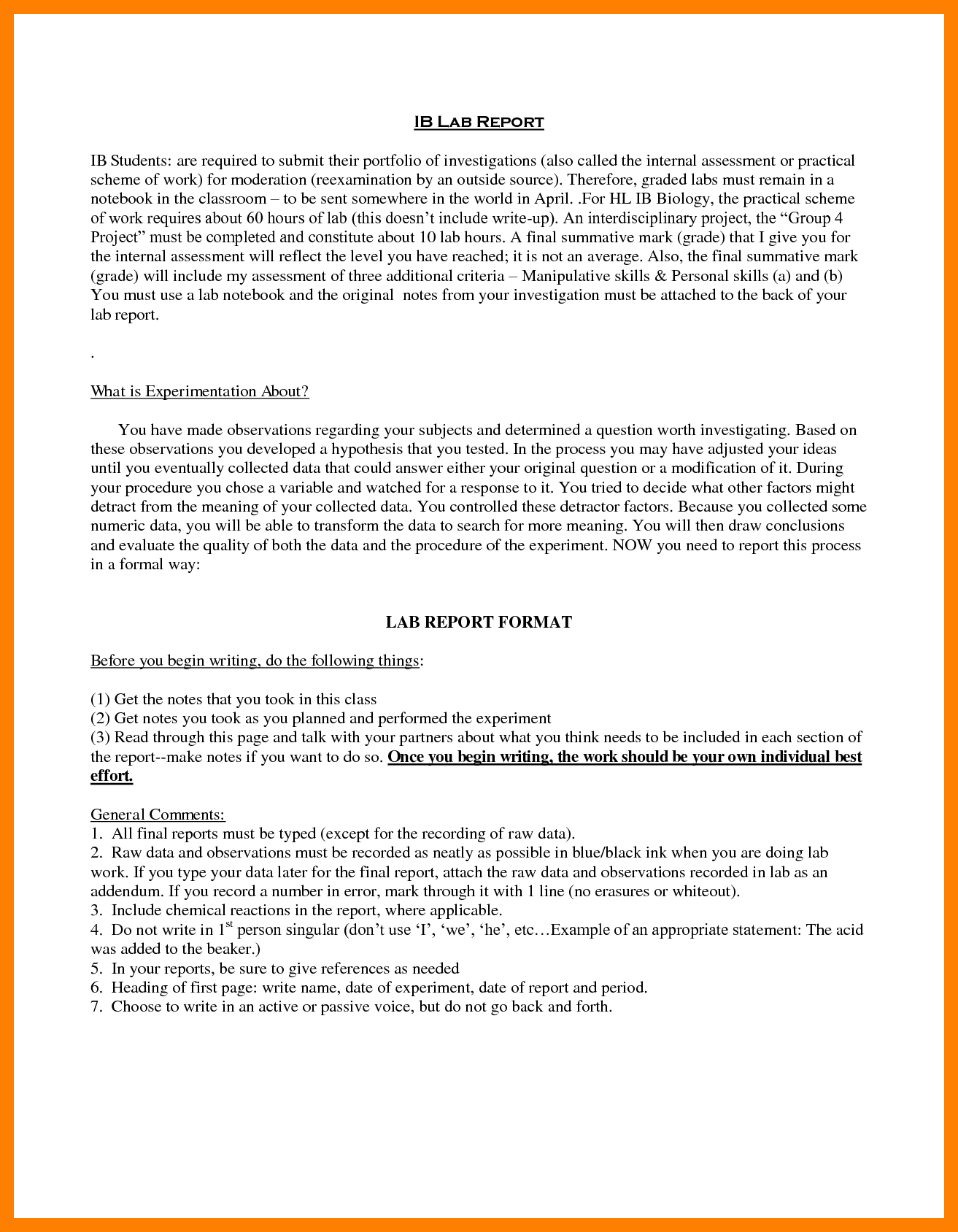 Biology Lab Report Example Examples Template Outstanding Ideas Pertaining To Ib Lab Report Template