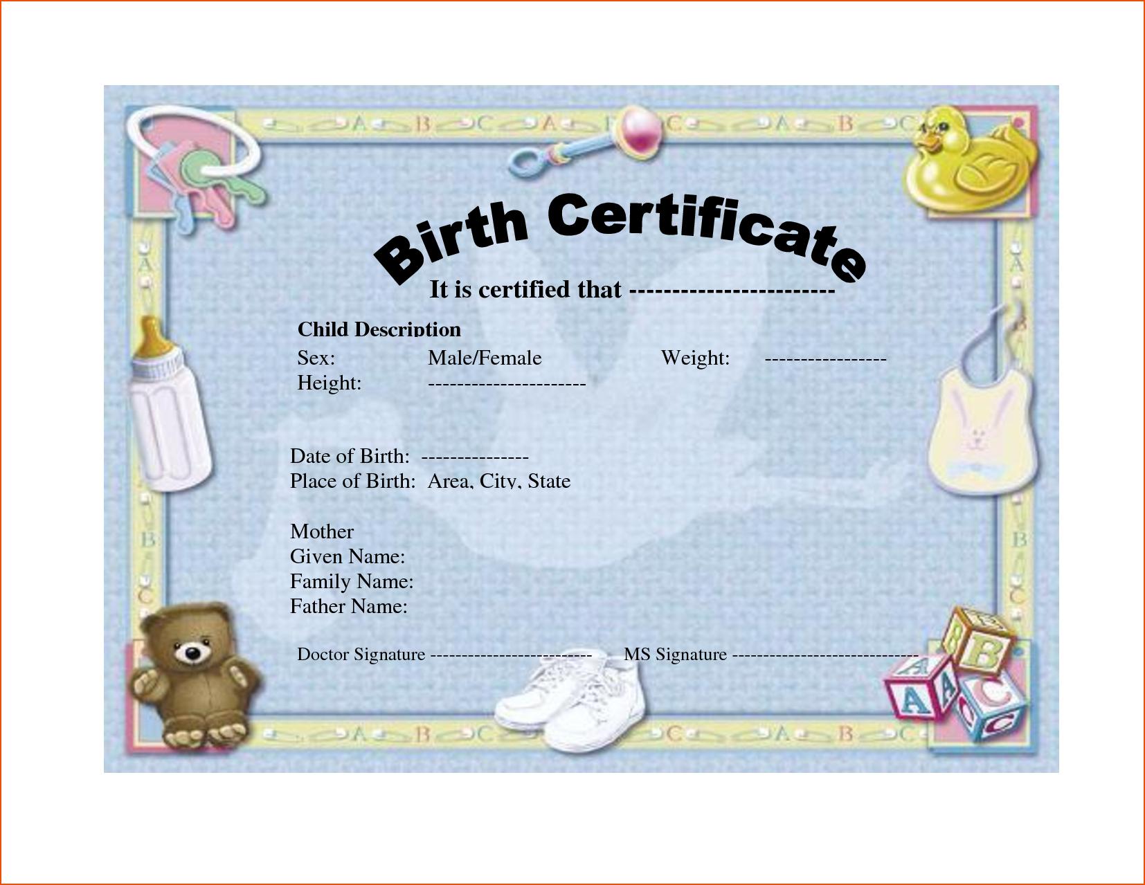 Birth Certificate Templates  Bookletemplate Regarding Birth Certificate Templates For Word