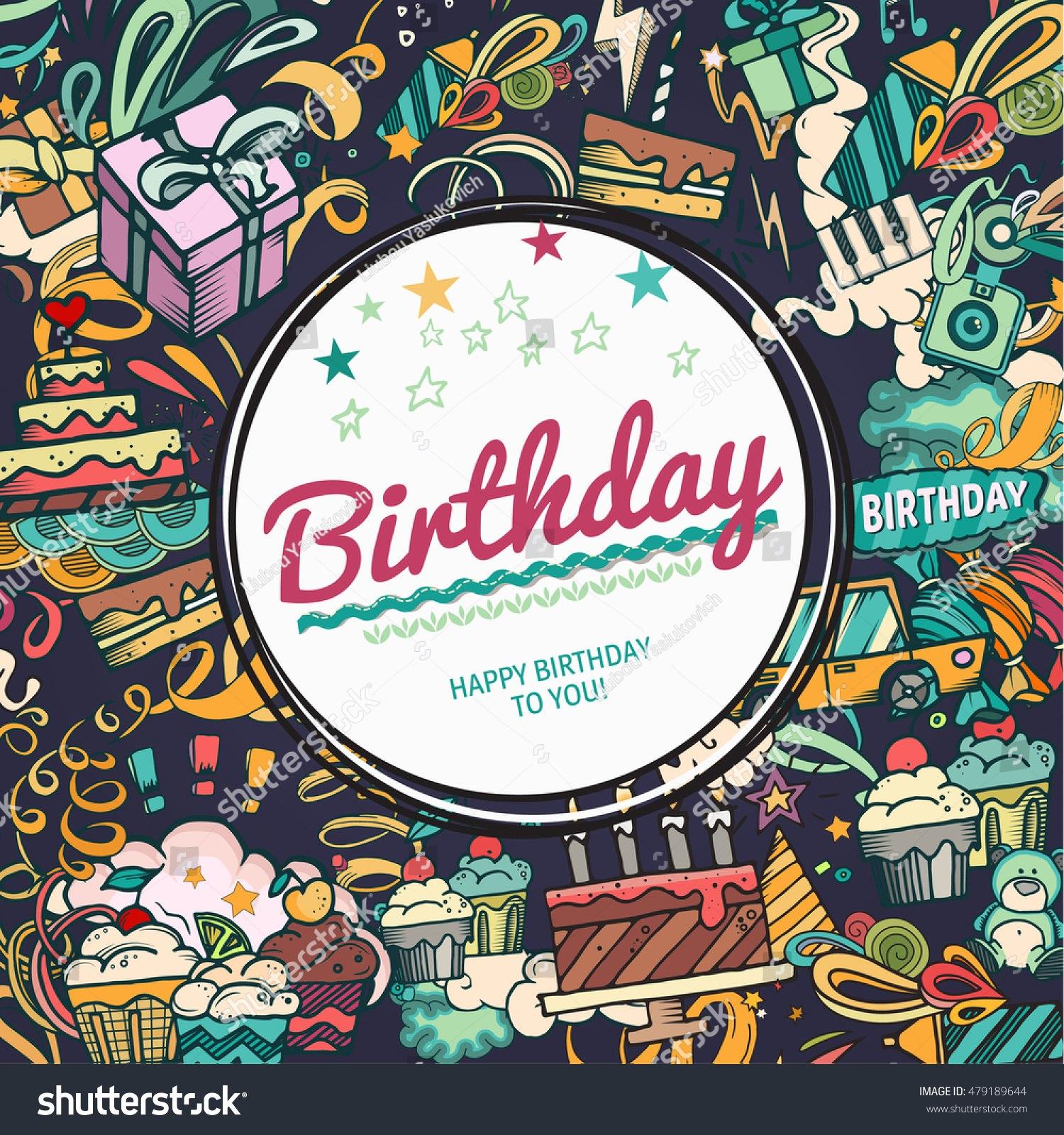 Birthday Background Collage Photo Frame Card Stockvektorgrafik Pertaining To Birthday Card Collage Template