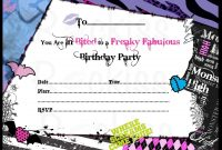 Birthday Invitations Monster High Background  Hd Wallpapers intended for Monster High Birthday Card Template