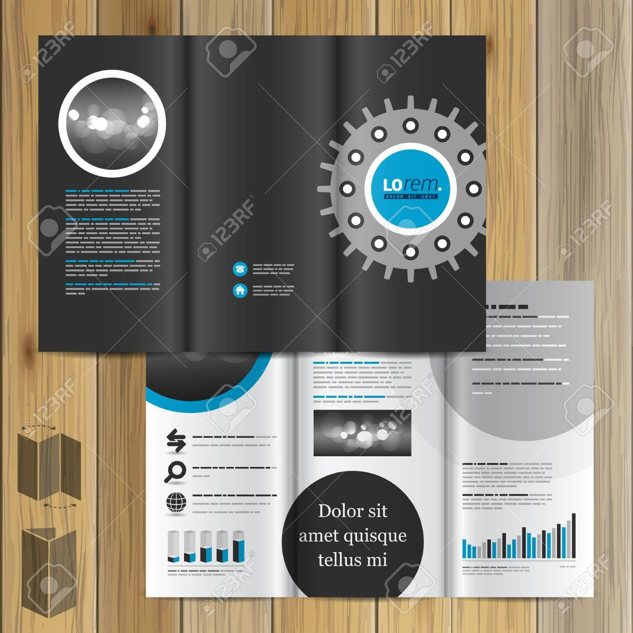 Black Technical Brochure Template Design With Cogwheel Cover With Regard To Technical Brochure Template